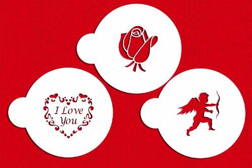 Designer Stencils C300 I Love You Cookie Stencils Cupid Rose Heart Beigesemi-transparent