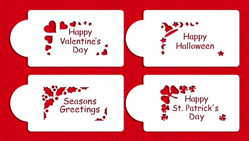 Designer Stencils C310 Holiday Corners Cookie Stencils Happy Valentines Day Happy Halloween Happy St Patrick Day Seasons Greetings Beigesemi-transparent