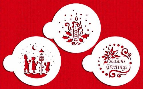 Designer Stencils C463 Seasons Greeting Cookies Stencils Seasons Greetings - Carolers - Candle and Holly Beigesemi-transparent