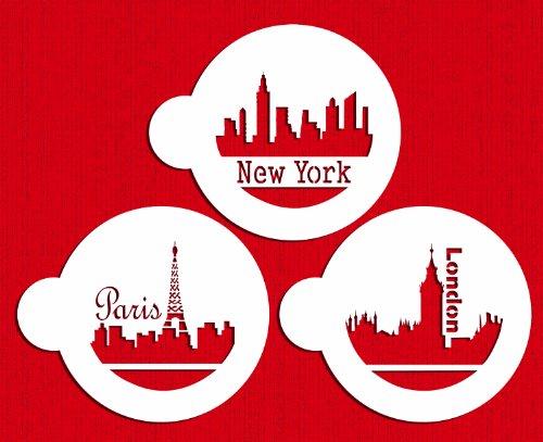 Designer Stencils C716 Paris London and New York Skylines Cookie Stencils BeigeSemi-Transparent