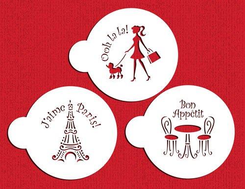 Designer Stencils C882 I Love Paris Cookie Stencil Set BeigeSemi-Transparent