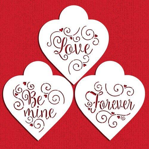 Designer Stencils C958 Love Be Mine Forever Hearts Cookie Stencil Set