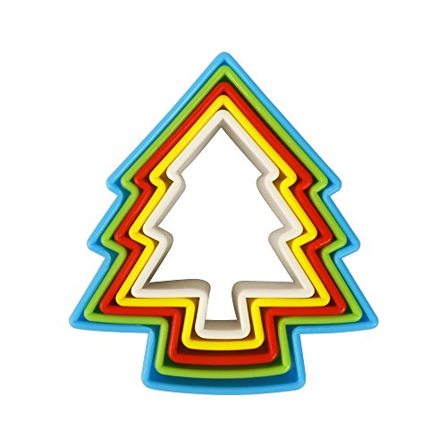 Cookie Cutters MCIRCO 5 Piece Christmas Tree Shape Cookie Cutter Set Plastic Cookie Cutters Multi-size Biscuit Cutter Set Multi-color Sandwich Fondant Cutter for FestivalsTree