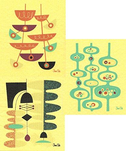 Swedish Dishcloths Set of 3 Mid-century Modern Designs by Jenn Ski - WasabiBlue GrassOrange on Yellow