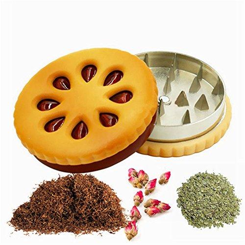 Metal Tobacco Grinder Crusher Dried Flowers Herbs Cigarette Tobacco Grinder Magnetic 216 inch Cookie Shape Biscuit Tobacco Herb Grinder