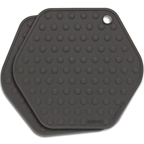Stjerne Set of 2 Multipurpose Large Silicone Trivets Mat Multiple Spoon Rest Jar Opener Pot Holder Coaster 5-in-1 Heavy Duty Flexible Charcoal