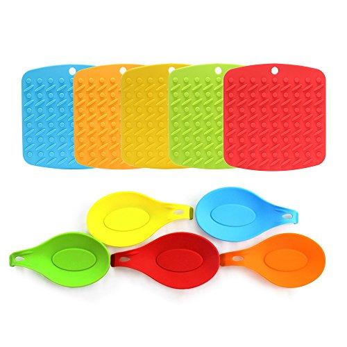 Umiwe Silicone Trivet Mat and Spoon Rest Multipurpose Kitchen GadgetsPot Holder Hot Pads Jar Opener and Table Coaster - Heat Resistant Dishwasher Safe - Bright Colors