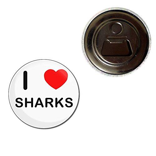 I Love Sharks - 55mm Fridge Magnet Bottle Opener
