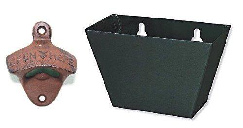Tozz Pro  Open Here Cast Iron Wall Mount Bottle Opener Vintage Look Replica Cast Iron opener  black cap catcher