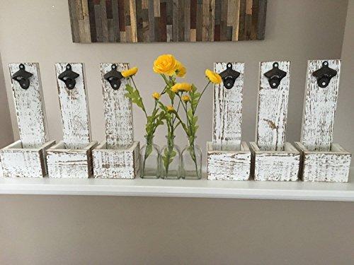 Wall Mounted Bottle Opener Cap Catcher - Groomsmen Gift Reclaimed Wood Best Man Gift Husband Gift Gift for Dad Wedding Gift Christmas Gift Wall Mount Kitchen Decor Gift for Men
