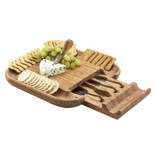 Picnic at Ascot - The ORIGINAL Malvern Bamboo Cheese Board Set - Deep Cracker Tray Rim Hidden Drawer 4 serving tools
