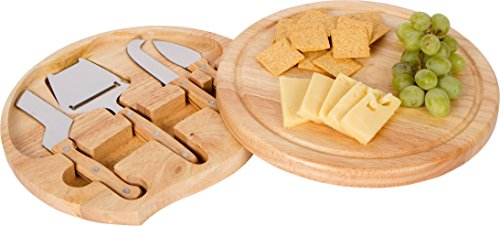 10 Round Bamboo Cheese Board 4 Piece Tool Set with Swivel Base - By Trademark Innovations