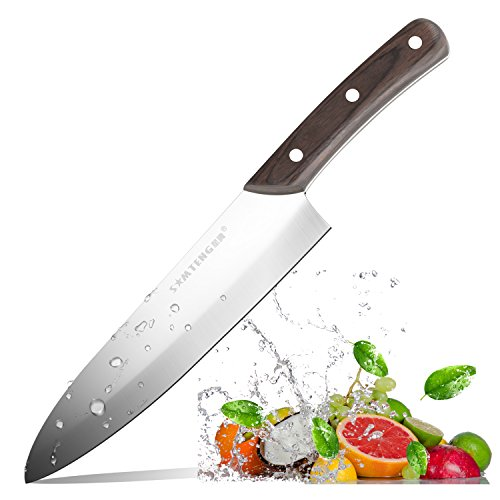 Chef Knife 8-Inch Kitchen High-carbon Stainless Steel Kitchen Knife with Sharp Blade and Wooden Handle for Professional Chef