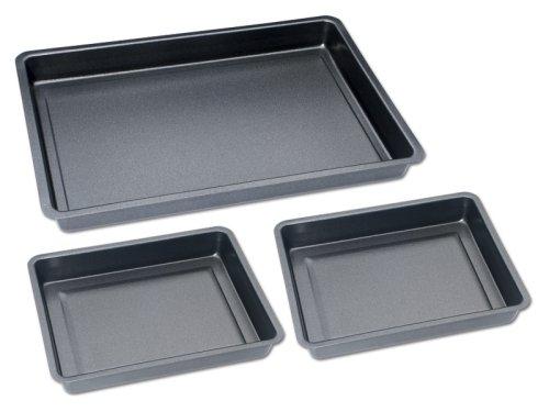 CHG Set209-10 Baking Tray Set 3 Piece 1 x baking and roasting tray 42 cm x 29 cm x 4 cm 2 x baking and roasting tray 29 cm x 23 cm x 4 cm