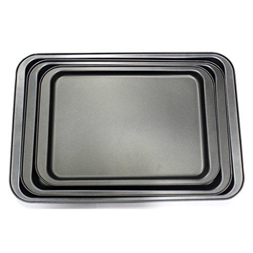 KurtzyTM 3 Piece Large Non-Stick Oven Baking Roasting Tray Set Tin Pans