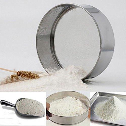SuperStores Stainless Steel Mesh Flour Sifter Mechanical Baking Icing Sugar Shaker Sieve Strainer Mesh Powder Cake Baking Kitchen Tool