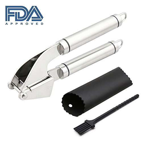 Professional Garlic Press - Food Grade Stainless Steel Garlic Mincer with Silicone Garlic Presser Tube Roller Peeler