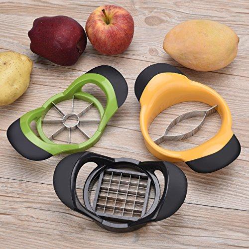 APURSUE Apple Slicer Corer French Fry Cutter Mango Corer Slicer Orange Peelers Potato Cutter Slicer Corer Pitter Wedger Divider Dicer Chopper Kitchen Gadget Utensil 5 PCS Fruit Vegetable Slicer Tools