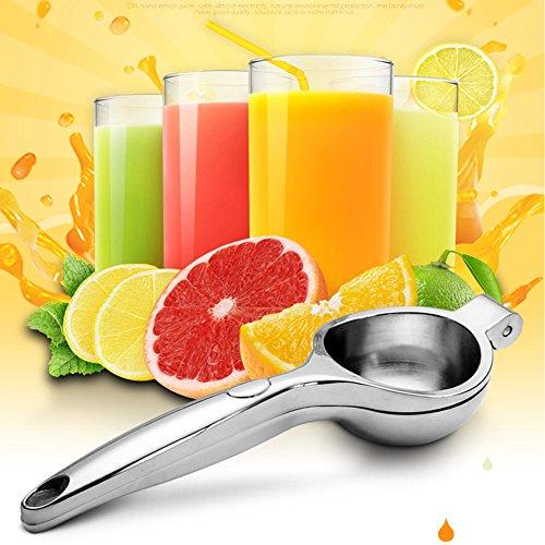 LemonLime SqueezerStainless Steel Juicer Manual hand Citrus JuicerSliver Anti-corrosive Juicer with High StrengthPressing Juice from Fruit or Vegetables Silver