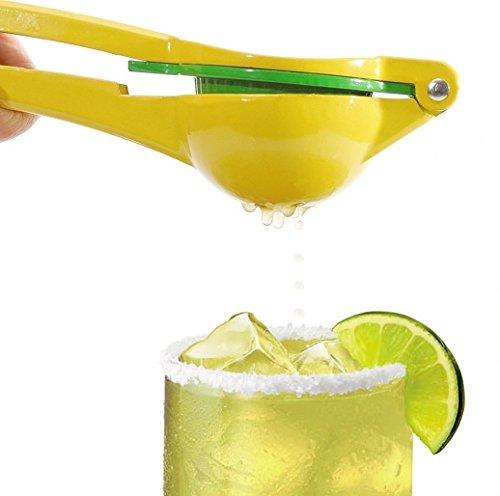 JUMBO Top Rated Premium Quality 2-in-1 Lemon Lime Squeezer - Citrus Press Juicer - Chef Fruit Hand Juice Aluminum Metal Extractor Yellow Lemon Squeezer