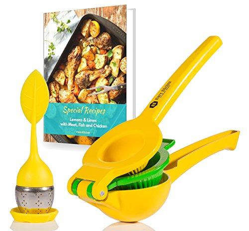 Viore Kitchen Lemon Squeezer w Tea Infuser  Manual Citrus Press  Handheld Lime Juicer  Includes Recipe eBook