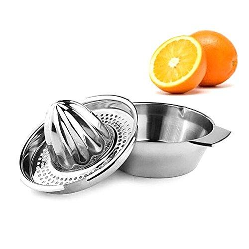Stainless Steel Lemon Juicer Manual Hand Orange Squeezer Lime Squeezer Citrus Orange Juicer with Bowl Juicer Strainer
