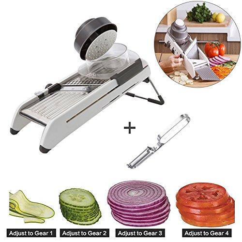 Mandoline SlicerAdjustable Vegetable SlicerJulienne CutterFrench Fry Cutter Built in Blades Fruit and Vegetables Cutter Tools With Peeler Style 1