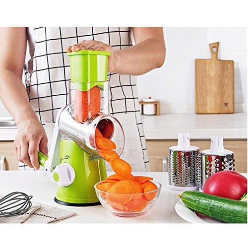 Fecihor Vegetable Mandoline Slicer Salad Cutter Chopper Cheese Grater Potato Julienne Nut Shredder with 3 Stainless Steel Blades Green