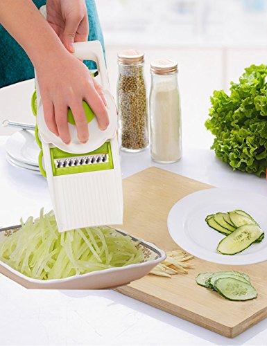 Ocathnon 5 in 1 Vegetable CleaversMandoline SlicerCutterPeelerGrater Stainless Steel CarrotsZucchini Julienne Slicer Veggie Pasta Spaghetti Maker