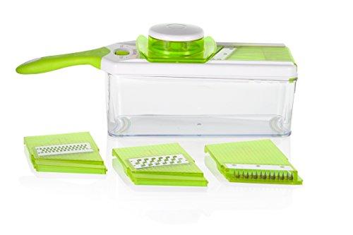Sunkist SAP2770G Softgrip Salad Prep 4-in 1 Adjustable thickness mandoline slicergraterjulienne prepper with nonskid 15 quart Storage Container Green