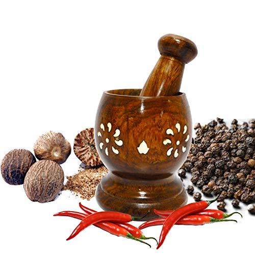 WhopperIndia Wooden Mortar Pestle Grinding Bowl Set Garlic Crush Pot Kitchen Tool