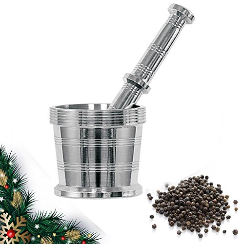valentines day gifts Stainless Steel Mortar and Pestle for Crushing Grinding Spice Grinder Khalbatta Silver Color Size 35 X 35 Inch