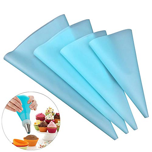 Meomeo2356 Piping Nozzles 4Pcs Silicone Pastry Bag Thickened Reusable Piping Bags Premium DIY Frosting Bags Kit