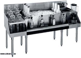 Krowne Metal KR18-W66B-10 Royal 1800 Series Underbar Ice BinCocktail Station Blender Station Recessed Drainboard 66W x 24D