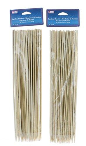 Al-De-Chef 100 Bamboo Skewers 12 BBQ Wooden Sticks Barbecue Grill Shish Kabob Roasting