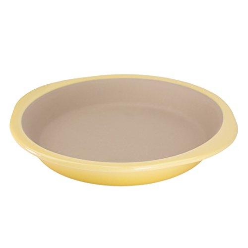 American Bakeware Lemon Yellow 10 Petite Pie Pan Ceramic Stoneware Dish Made in the USA