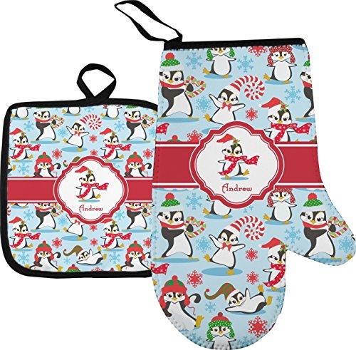 Christmas Penguins Oven Mitt Pot Holder Personalized
