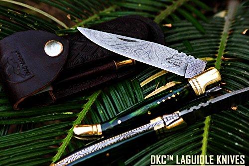 DKC-62-GR GREEN PRINCE Laguiole Damascus Steel Folding Pocket Knife 4 Folded 725 Open 3oz 35  Blade High Class Looks Incredible DKC Knives