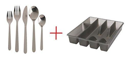 20 Piece Fornuft Flatware set with Smacker Silverware Cutlery Tray Organizer by Ikea