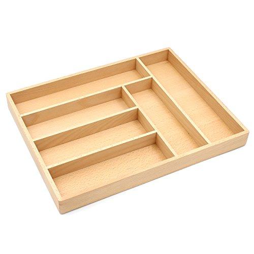 Bamber Hardwood Kitchen Silverware Organizer Premium Flatware Drawer Organizers Utensil Trays - Beechwood