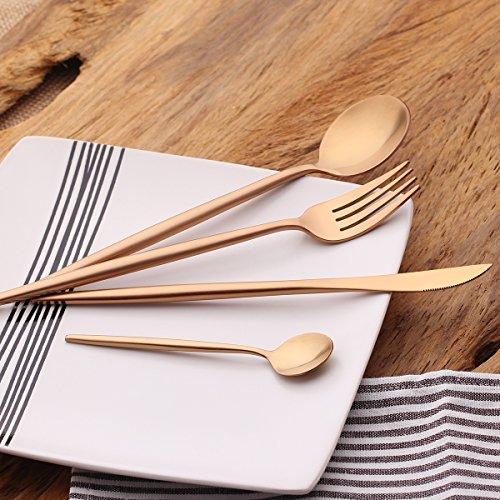 LEKOCH 4-Piece 1810 Stainless Steel Flatware Including Fork Spoons Knife Silverware Set Rose Golden