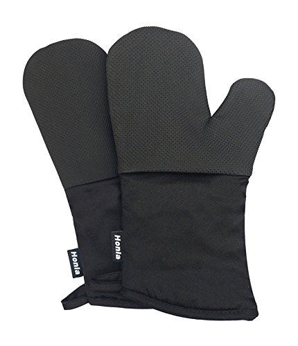 Neoprene Oven Mitts - Heat Resistant to 500° F1 Pair of Non-Slip Kitchen Oven Gloves for CookingBakingGrillingBarbecue PotholdersBlack - Honla