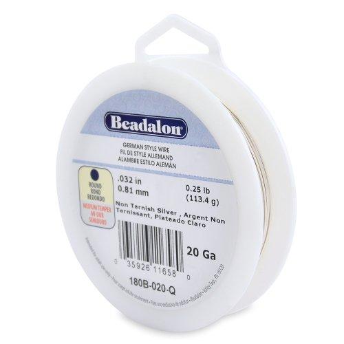 Beadalon 20-Gauge Tarnish Resistant Silver Plate Round Wire 14-Pound