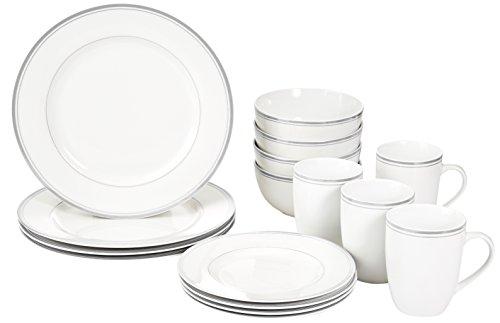 AmazonBasics 16-Piece Cafe Stripe Dinnerware Set Service for 4 - Grey