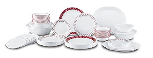 Corelle Livingware 74 Piece Crimson Trellis Dinnerware Set with Storage Lids White