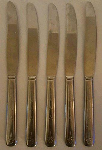 5 pc Stainless Art Deco Art Nouveau Perhaps USA Vintage Flatware ~ 5 Dinner Knives