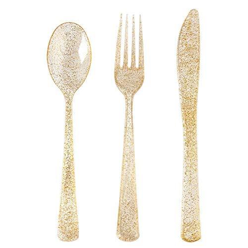 300 Gold Plastic Silverware Set  Glitter Gold Cutlery  Glitter Clear Plastic Cutlery Set  Disposable Silverware Flatware Set  100 Gold Forks 100 Gold Spoons 100 Gold Knives  Fancy Party Utensil