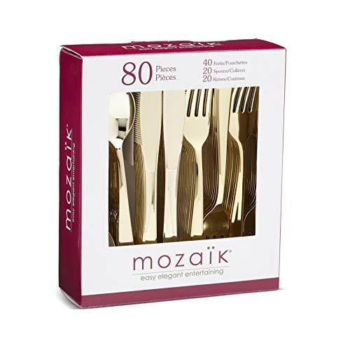 Mozaik CMG80CAM Premium Plastic Classic Assorted Gold Cutlery 80-Count