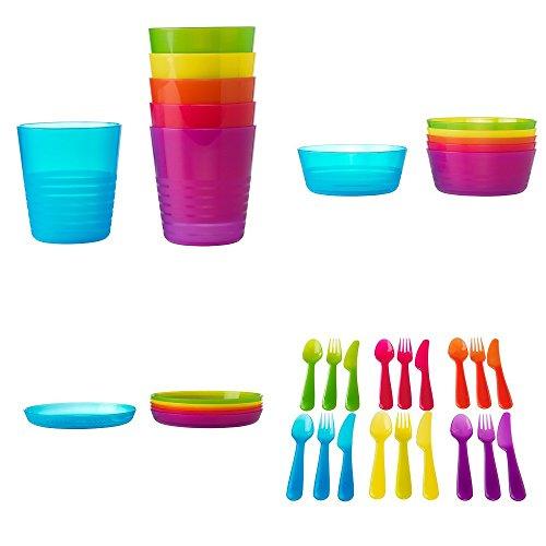 Ikea Childrens Kalas 36 Piece Plastic Cutlery Set - 6 X Knives 6 X Forks 6 X Spoons 6 X Bowls 6 X Plates 6 X Cups