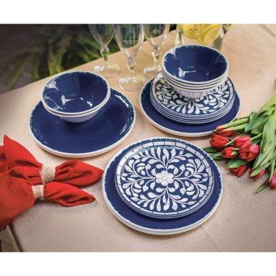 18-Piece Melamine Dinnerware Set Cobalt